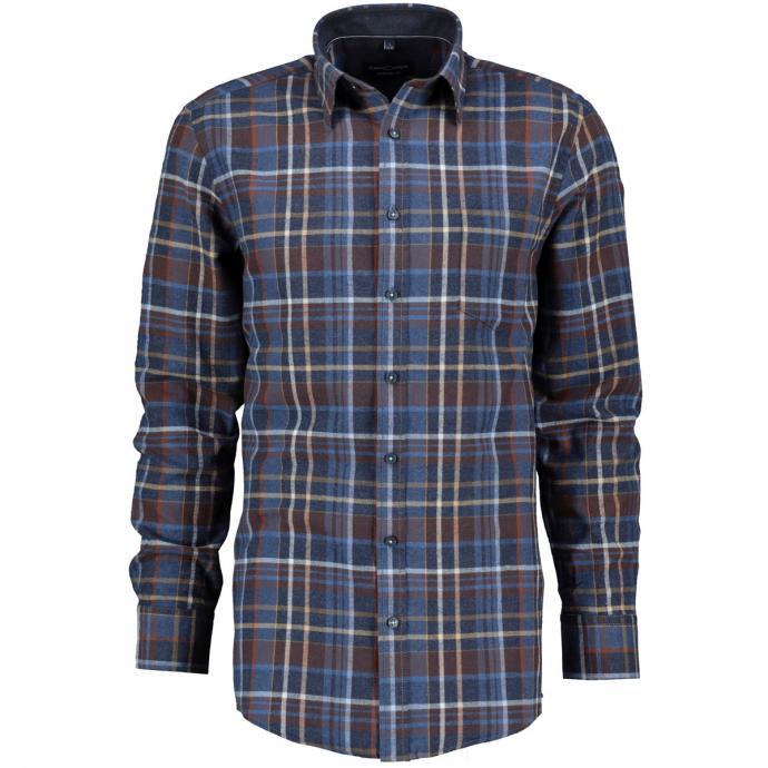 Flanellhemd mit großem Karomuster, langarm blau_100   XXL