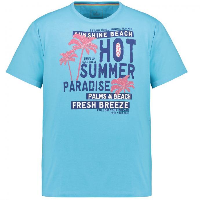 Lässiges T-Shirt mit sommerlichen Brustprint türkis_773 | 3XL