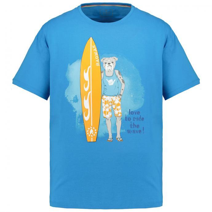 T-Shirt mit auffälligem Brustprint blau_074 | 3XL
