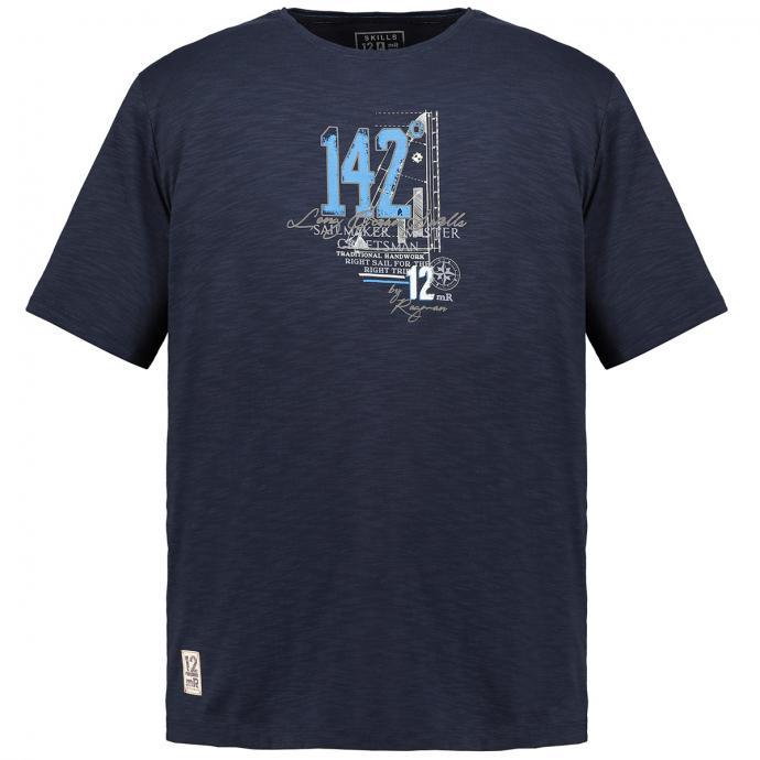 T-Shirt mit angesagten Flammstruktur und Front-Print marine_711 | 3XL