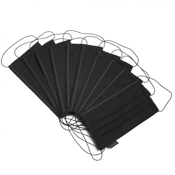 Textile Behelfsmaske mit Gummiband, 10er Pack schwarz_39 | One Size