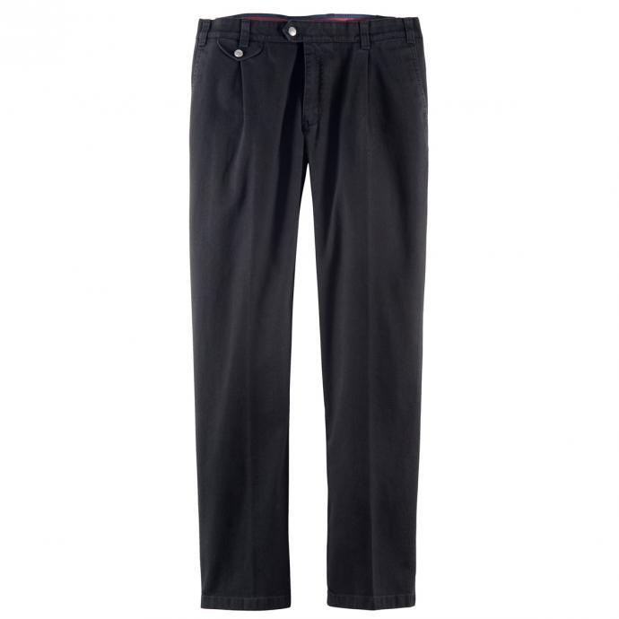 Tiefbund Jeans mit Bundfalte und Stretch schwarz_9 | 58
