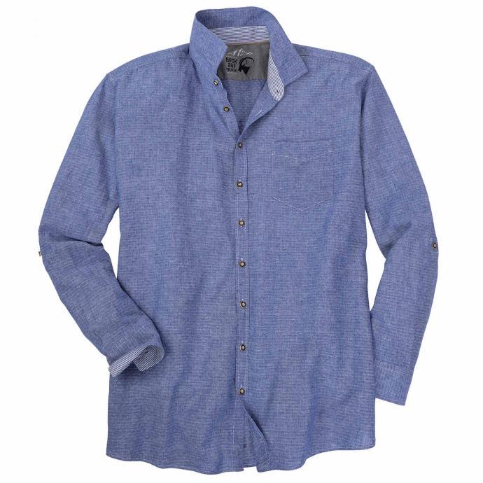 Strukturiertes legeres Trachtenhemd, langarm blau_110   3XL