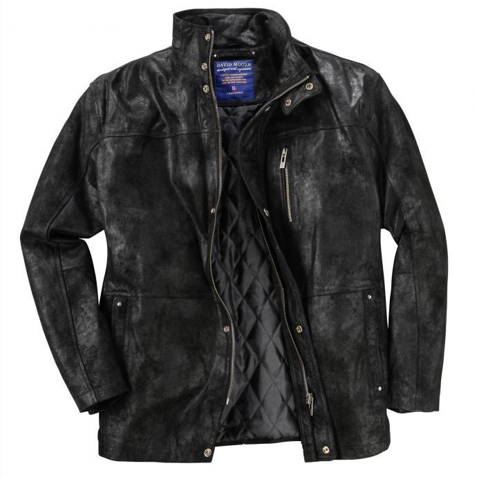Außergewöhnliche Lederjacke mit trendigen Effekten schwarz_SCHWARZ | 34