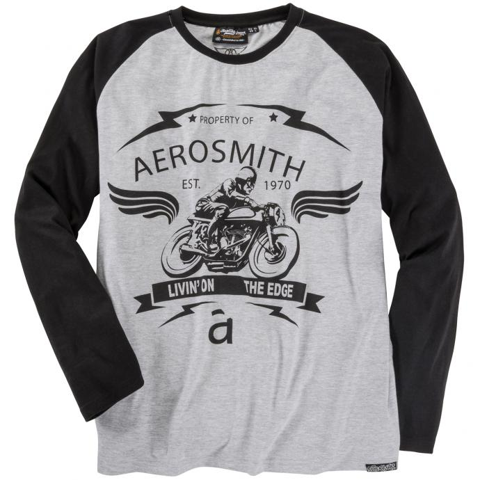 T-Shirt mit sportlichem Frontprint langarm hellgrau_050 | 6XL