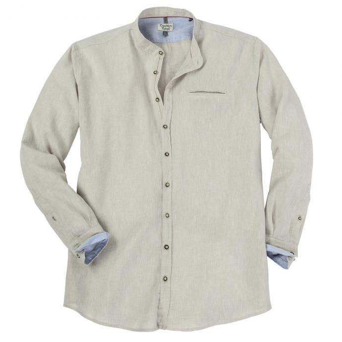 Trachtiges Leinenhemd mit modischem Stehkragen beige_209   XXL