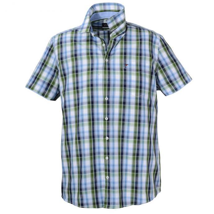Kariertes Baumwoll-Freizeithemd,  kurzarm blau/grün_454/4060 | 3XL