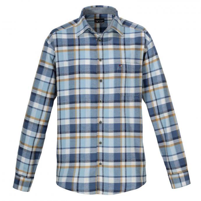 Freizeithemd aus Baumwoll-Flanell, langarm blau_156 | XXL