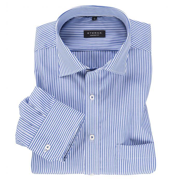 City-Hemd in Streifen-Optik langarm blau/weiß_16   47