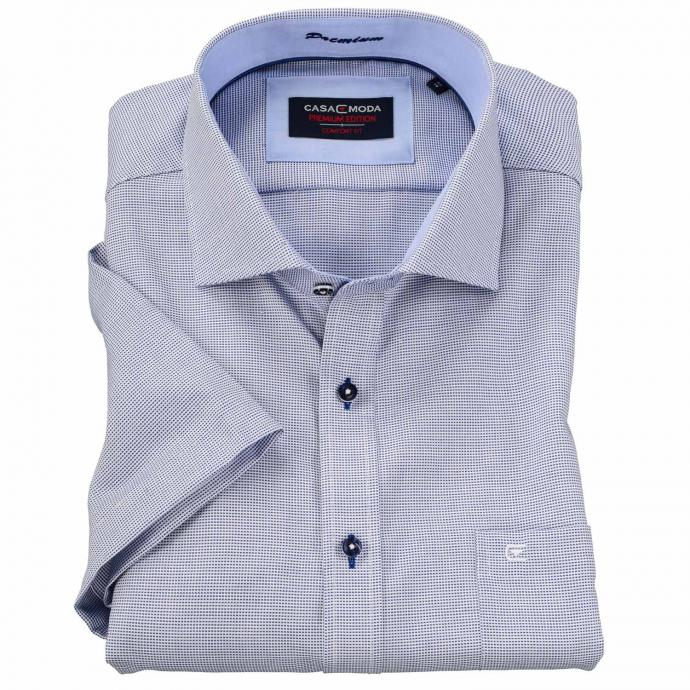 Gemustertes Cityhemd, kurzarm blau_100 | 3XL