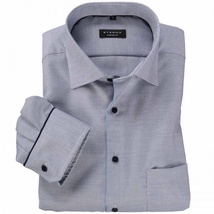 Elegantes Langarmhemd mit dezentem Muster blau/weiß_16 | 47