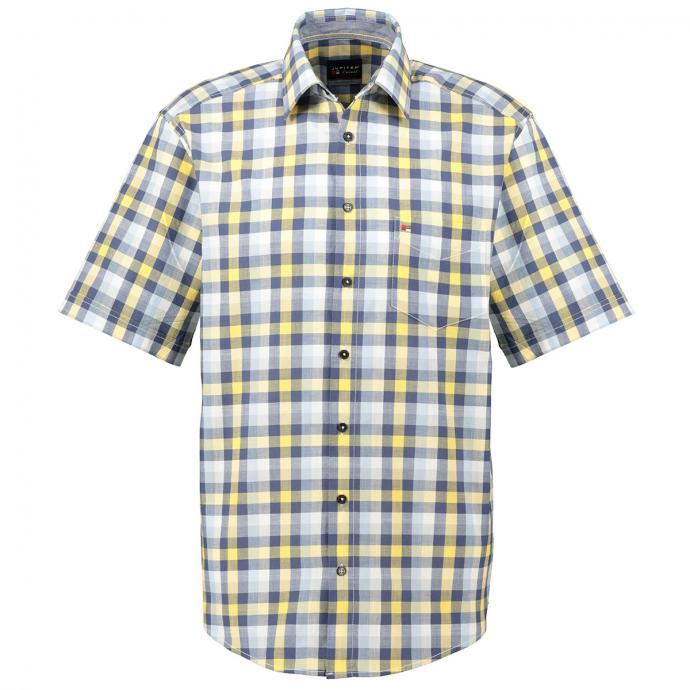 Freizeithemd mit großen Karo´s, kurzarm blau/dunkelblau_554/4040 | XXL