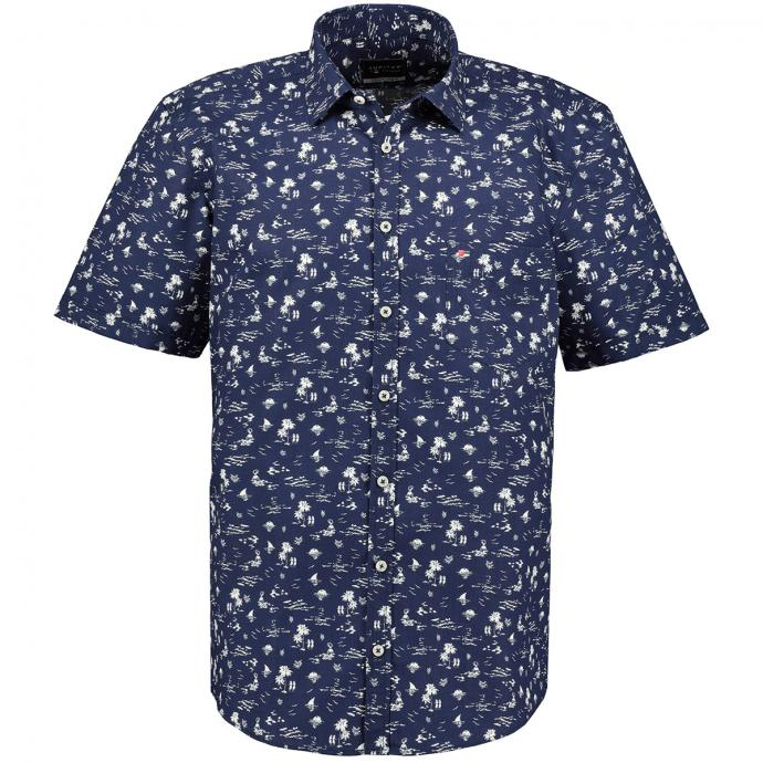Freizeithemd mit sommerlichem Beachprint, kurzarm dunkelblau_179 | XXL