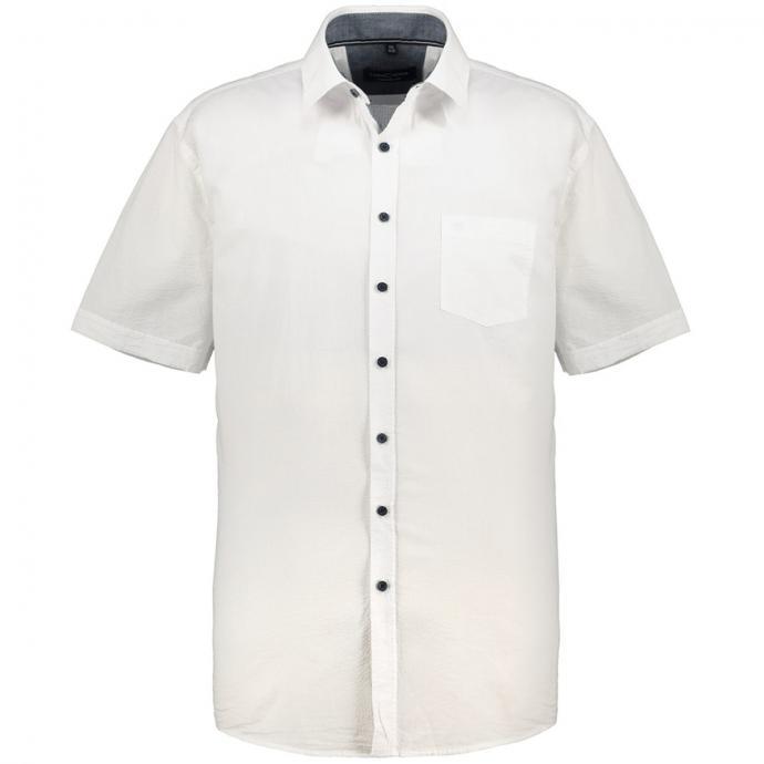 Freizeithemd mit Struktur, kurzarm weiß/weiß_000   XXL