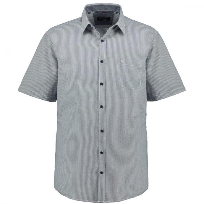 Freizeithemd mit Streifenmuster, kurzarm blau/weiß_101/4020 | XXL