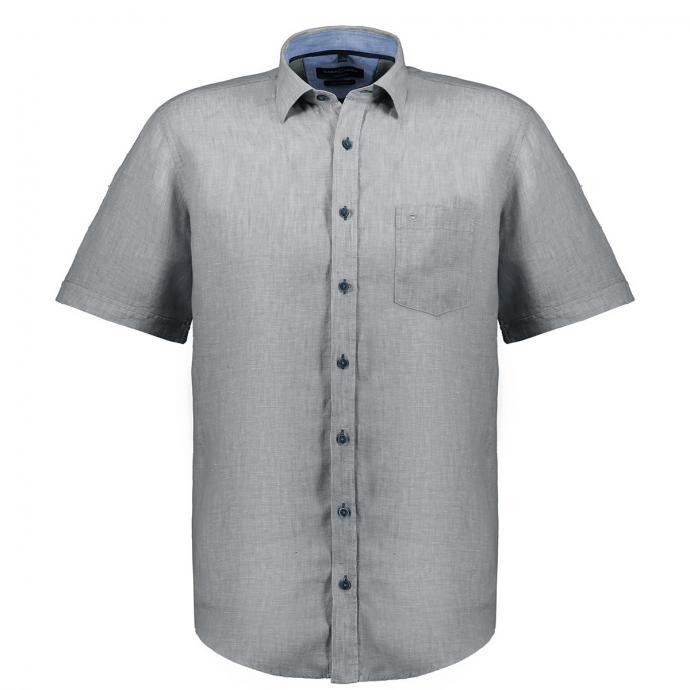 Legeres, leichtes Leinen-Freizeithemd, kurzarm grau_800/30 | XXL