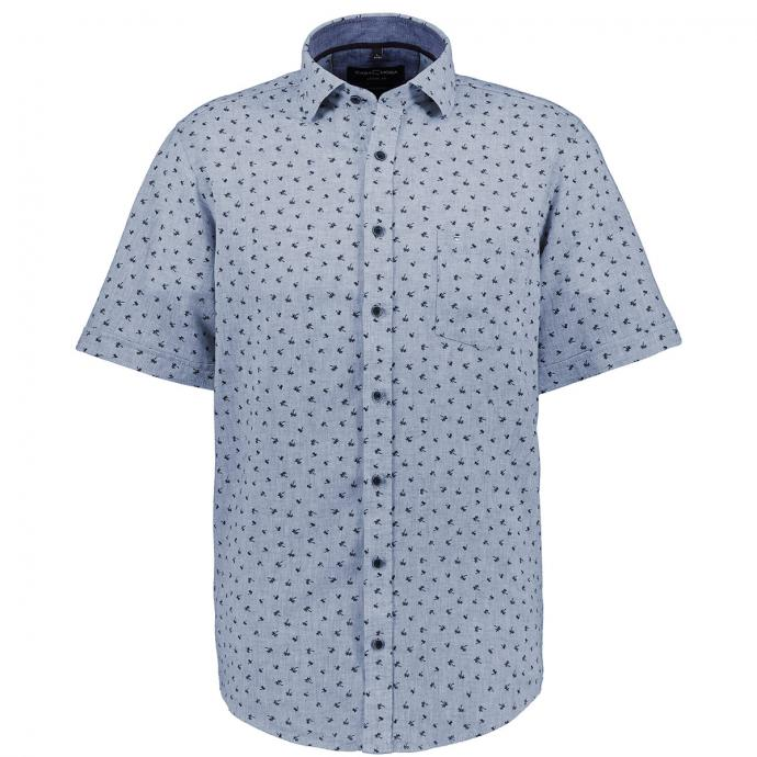 Cooles Freizeithemd mit Palmen Allover-Print, kurzarm jeansblau_101   XXL