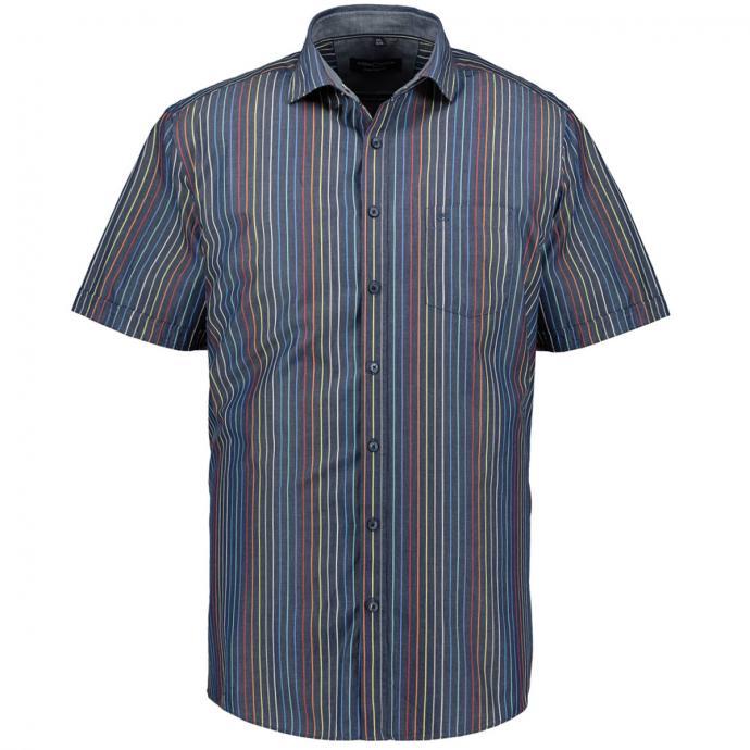 Freizeithemd mit Streifen, kurzarm blau_100 | XXL