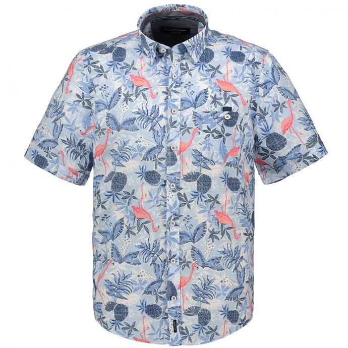Kurzarmhemd mit Flamingoprint blau_100 | XXL