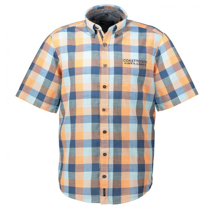"Großkariertes Kurzarmhemd mit ""Coasttown""-Stickerei orange_450/55   XXL"