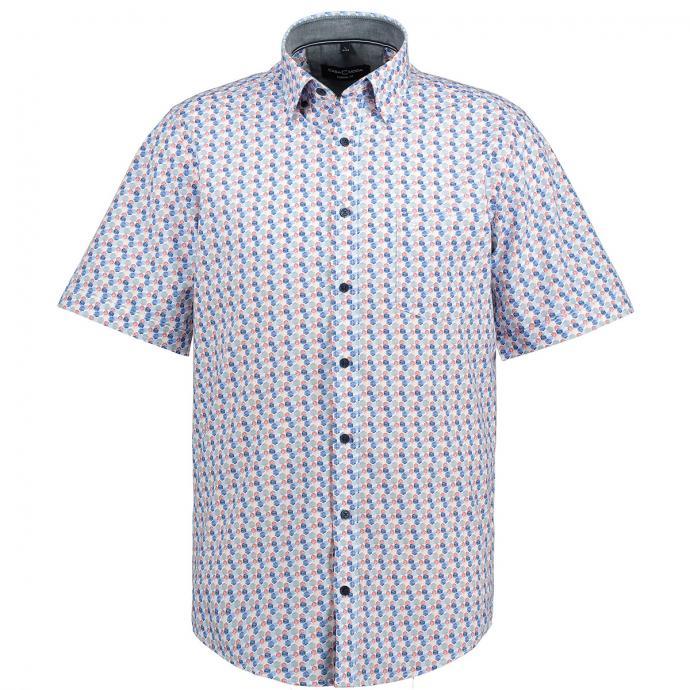 Modisches Freizeithemd mit All-Over-Print, kurzarm blau_100 | XXL
