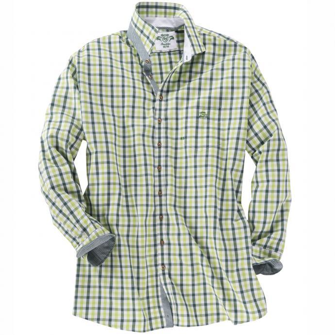 Kariertes Trachtenhemd langarm grün_52 | 3XL