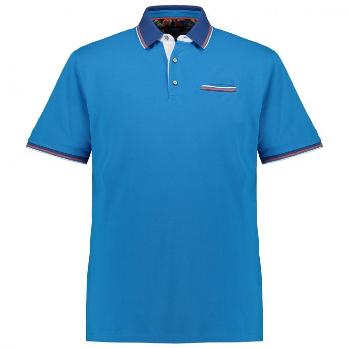 Basic- Poloshirt mit Kontrast-Details kurzarm blau_074   3XL