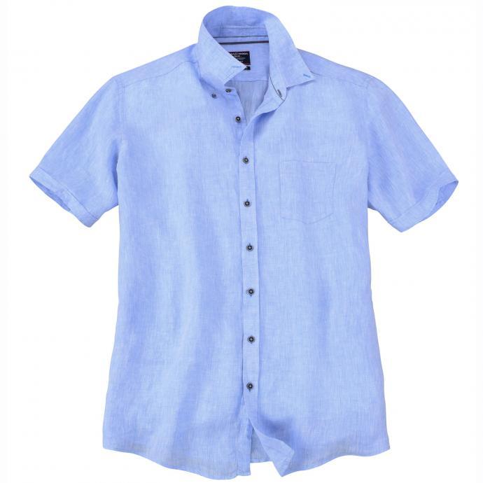 Modisches Leinenhemd mit kurzem Arm blau_100 | 3XL