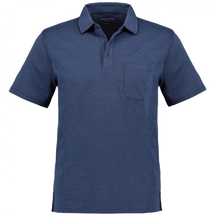 Poloshirt in leicht meliertem Design, kurzarm jeansblau_116 | 3XL