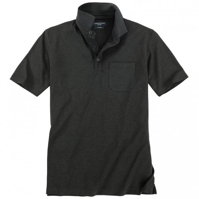 Poloshirt in leicht meliertem Design, kurzarm anthrazit_767 | 4XL