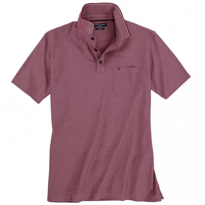 Poloshirt in leicht meliertem Design, kurzarm beere_969 | 3XL