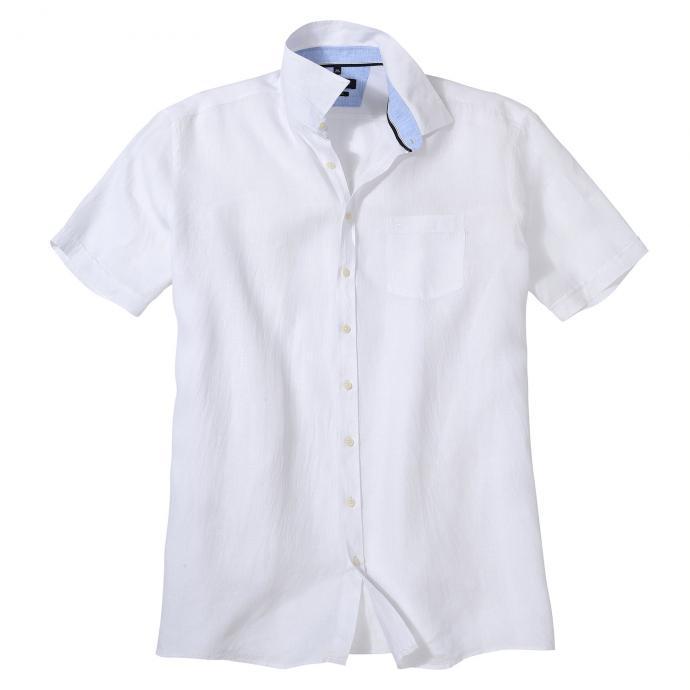 Modernes Leinenhemd mit dezenter Struktur, kurzarm weiß/weiß_000 | XXL