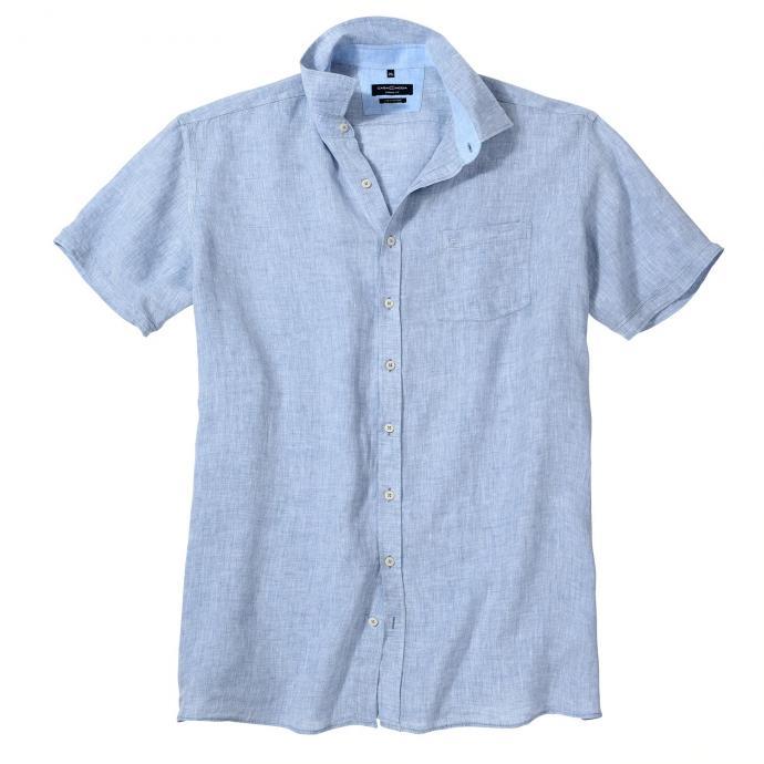 Modernes Leinenhemd mit dezenter Struktur, kurzarm blau_102/1 | 3XL