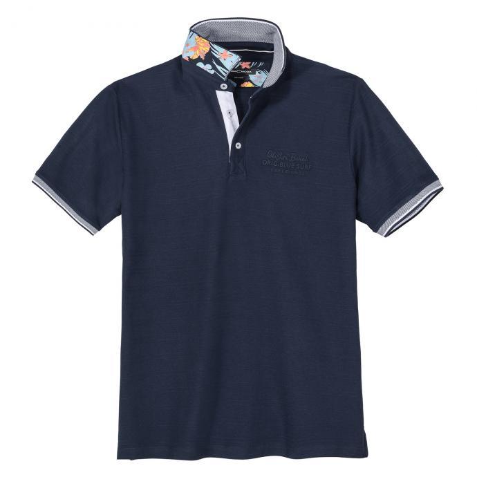 Modisch strukturiertes Poloshirt mit Farbakzenten dunkelblau_147 | 3XL