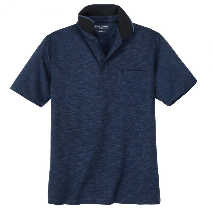 Formbeständiges, bügelleichtes Poloshirt in melierter Optik, kurzarm dunkelblau_1160 | 3XL