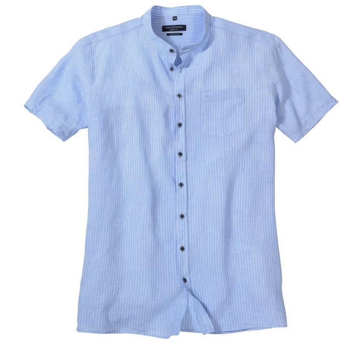 Gestreiftes Leinenhemd mit Stehkragen, kurzarm blau_100 | 3XL