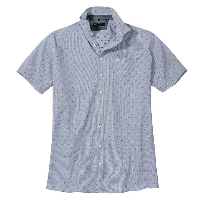 Stylishes Freizeithemd mit aktuellem Allover-Print, kurzarm blau_103 | XXL