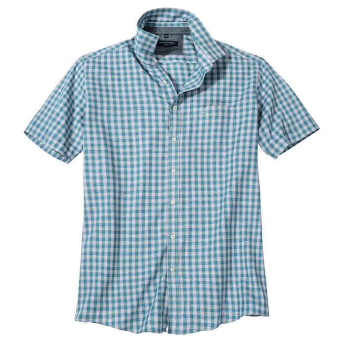 Freizeithemd mit trendstarkem Karomuster, kurzarm türkis_300/45 | XXL