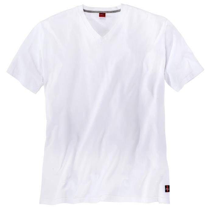 Basic T-Shirt mit V-Ausschnitt weiß_0100 | 3XL