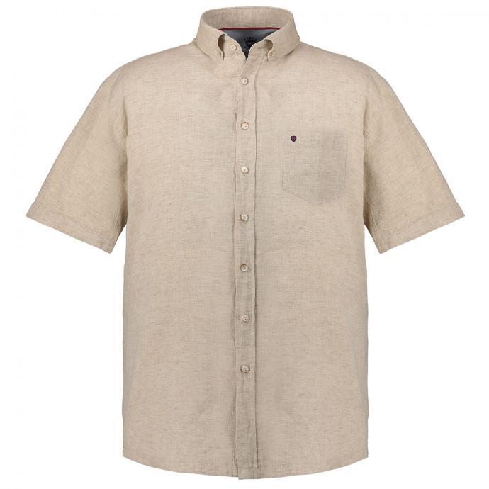 Kurzarmhemd im Leinenmix mit Button-Down-Kragen beige_210 | 3XL