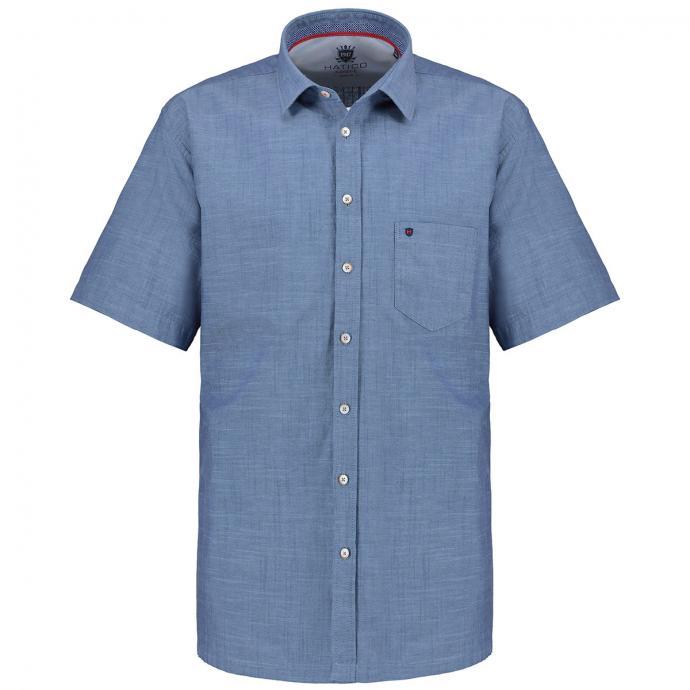 Kurzarmhemd in melierter Optik blau_120 | 3XL