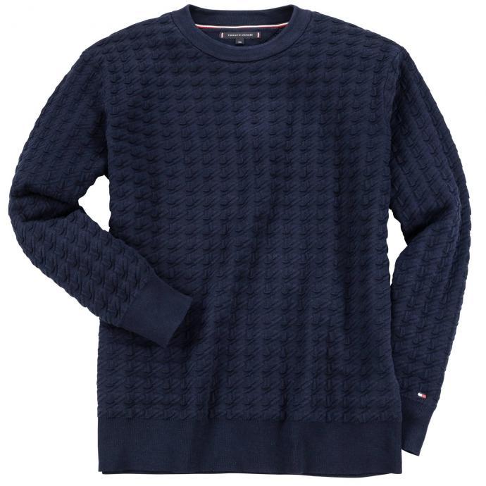 Schicker Pullover mit ausgefallenem Strukturmuster dunkelblau_403 | 3XL