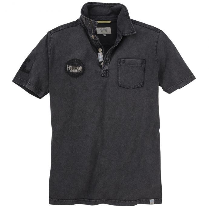 "Poloshirt mit ""Freedom Motors""-Stickerei, kurzarm schwarz_37/10   3XL"