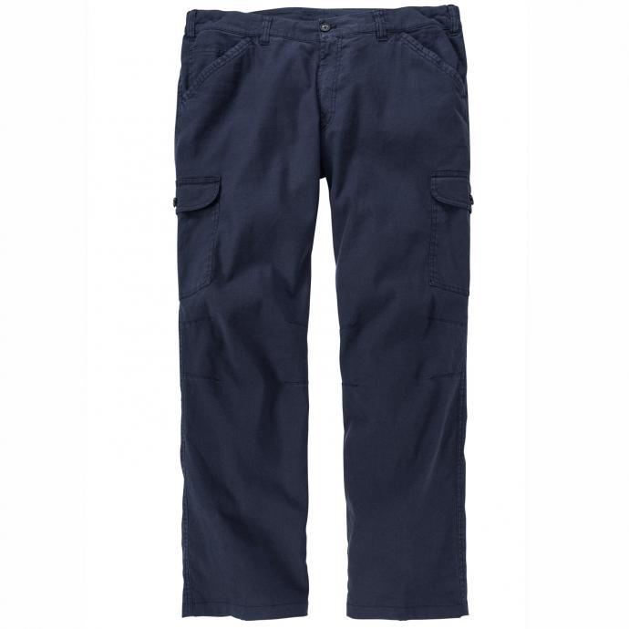 Leichte Hose mit Gummibund und Cargotaschen aus Leinengemisch graublau_79 | 28