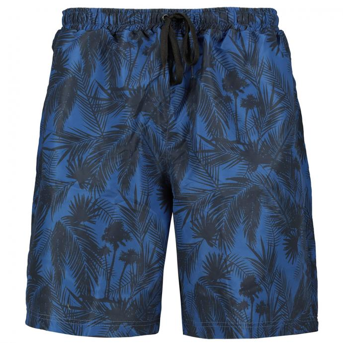Badeshort mit Palmenprint blau/dunkelblau_909   3XL