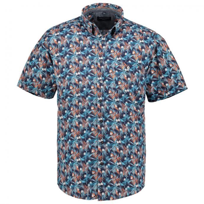 Floral buntes Freizeithemd, kurzarm blau_450/40 | XXL