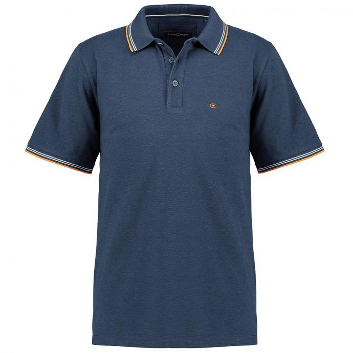 Lässiges Poloshirt mit Kontrastdetails, kurzarm dunkelblau_105/400 | 3XL