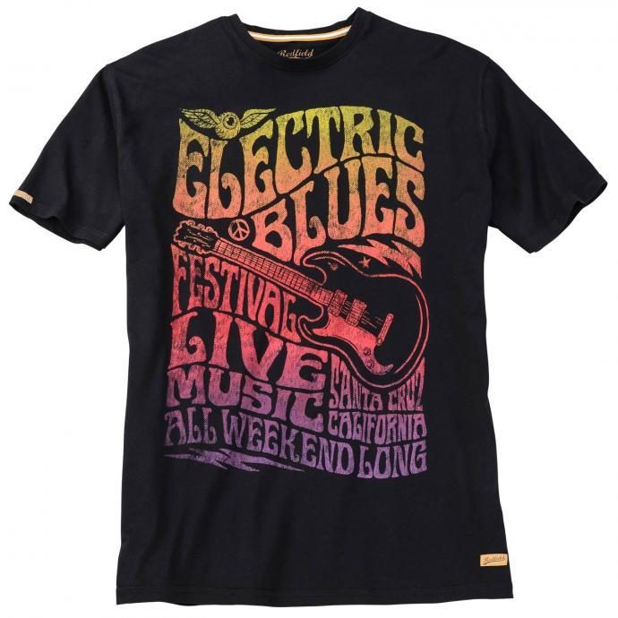 "T-Shirt mit Frontpring ""Electric Blues"",  kurzarm schwarz_15 | 3XL"