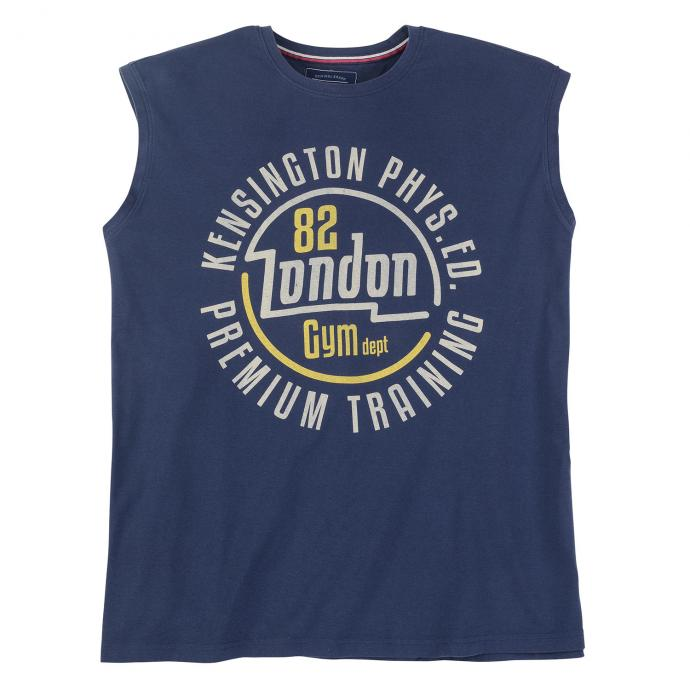 "Trendstarkes Tanktop mit Frontprint ""82 London Gym dept"" jeansblau_189 | 4XL"