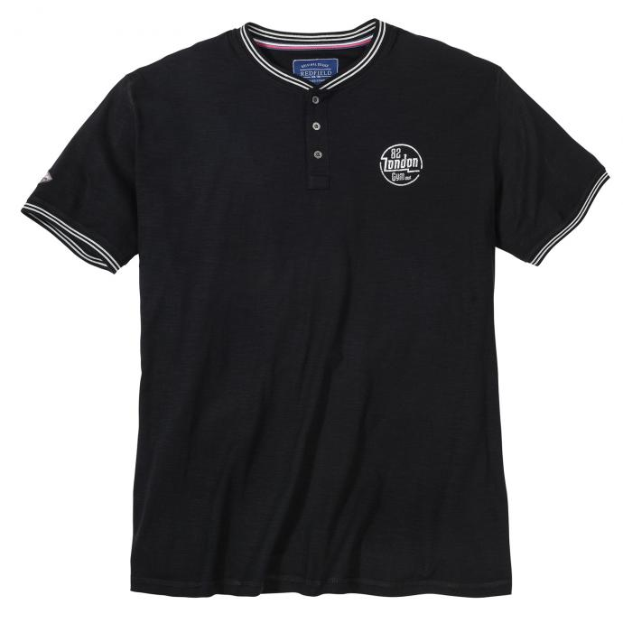 Lässiges T-Shirt mit Serafino-Kragen schwarz_15   3XL